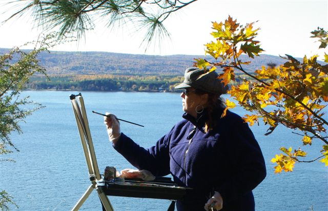 Linda paints outdoor in late autumn